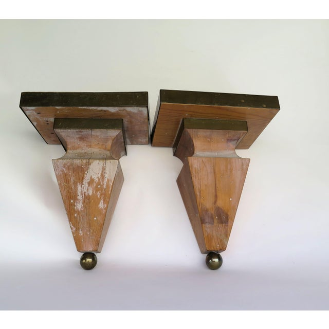 Shabby Chic 1980s Shabby Chic Brass and Pine Wood Corbels - a Pair For Sale - Image 3 of 5