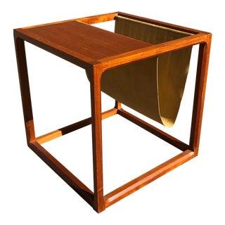 Danish Magazine Holder Side Table For Sale
