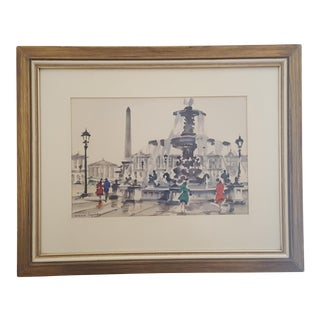 Original French Impressionist Watercolor Painting