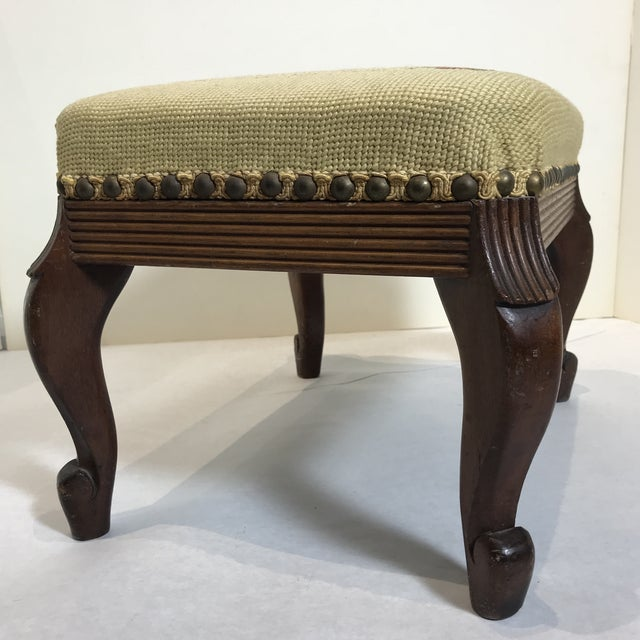 1940s 1940s Shabby Chic Needlepoint Footstool For Sale - Image 5 of 9