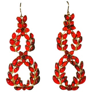 """Mwlc Ruby Poured Glass """"Garland"""" Earrings For Sale"""