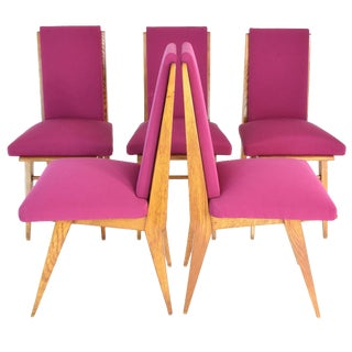 1940s French Art Deco Dining Chairs- Set of 5 For Sale