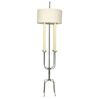 Tommi Parzinger Nickeled Steel Candelabra Floor Lamp For Sale