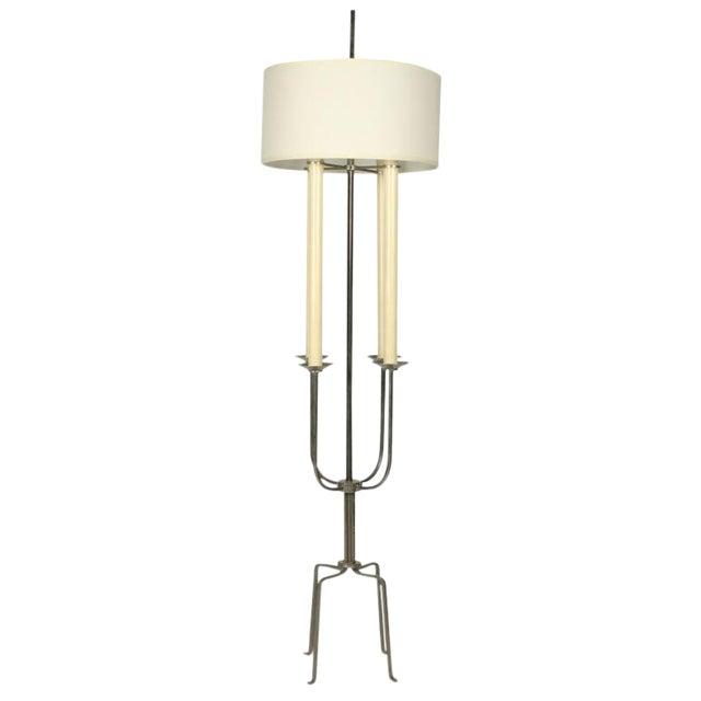 High-End Tommi Parzinger Nickeled Steel Candelabra Floor Lamp   DECASO