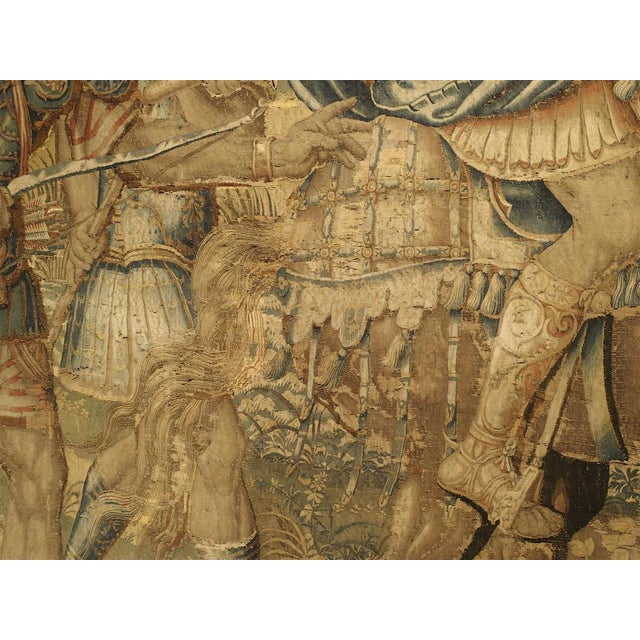 Yellow Large 17th Century Flanders Tapestry Depicting a Roman Scene For Sale - Image 8 of 13