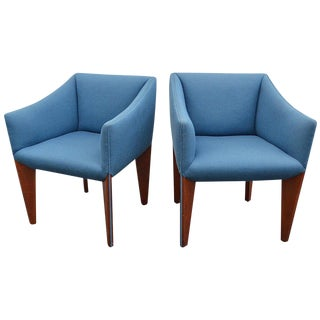 1950s Mid-Century Modern Blue Upholstered Walnut Side Chairs - a Pair For Sale