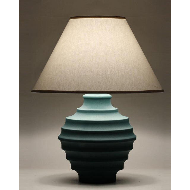 Contemporary Blue Crackle Saturn Table Lamp For Sale - Image 3 of 8
