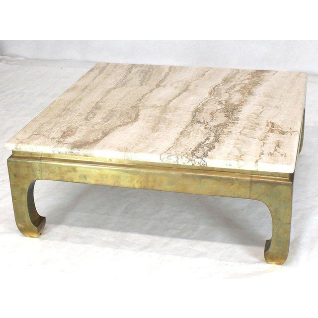 1970s Modern Solid Brass Base Square Travertine Top Coffee Table For Sale - Image 9 of 10