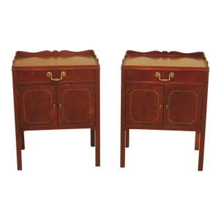 Baker Inlaid Mahogany Nightstands - A Pair