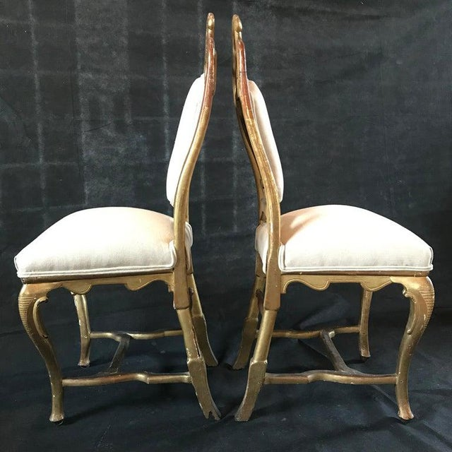 Rococo Late 19th Century French Giltwood Chairs- A Pair For Sale - Image 3 of 11