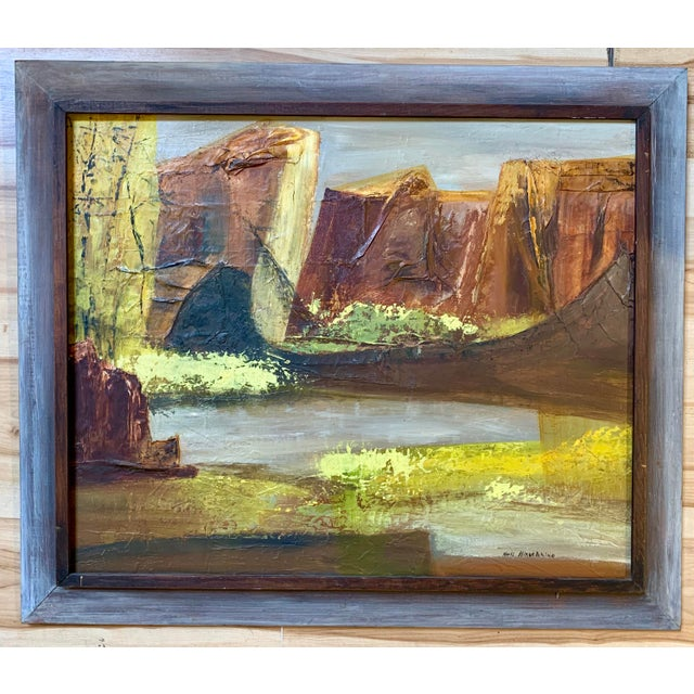 Vintage Mid-Century Nell Hirschkind Landscape Painting For Sale - Image 12 of 12
