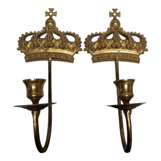 Royal Crown Taper Candle Sconces - a Pair For Sale