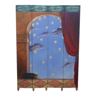 Vintage Hand Painted Wood Trompe l'Oeil Room Divider Screen For Sale