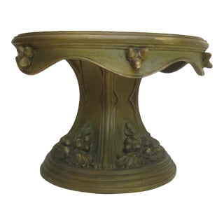 Vintage Handmade Olive Green Pedestal Cake Stand with Plate Holder