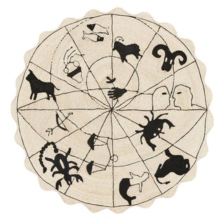 "Modern Charlap Hyman Herrero Astrologia Zodiac Beige Abaca Fiber Round Rug- 5'10"" X 5' 10"" For Sale"