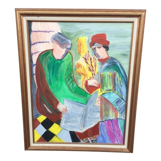 Late 20th Century Monks Canvas Painting For Sale