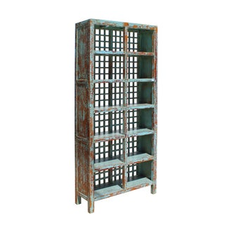 Chinese Distressed Blue Lacquer Display Bookcase Cabinet Preview