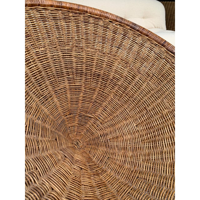 1950s Rattan Basket Armchairs - a Pair For Sale - Image 4 of 13