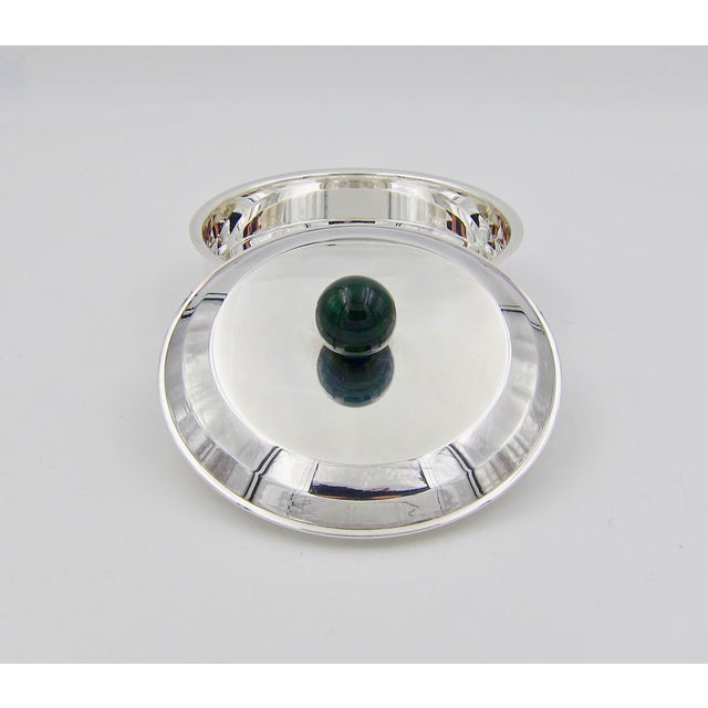 Jean Puiforcat Puiforcat French Art Deco Silver-Plate Bonbonniere Box With Green Enamel Finial For Sale - Image 4 of 13