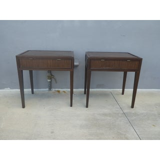 McGuire Furniture Company Faubourg Line Tall Rattan & Wood Nightstands - a Pair Preview