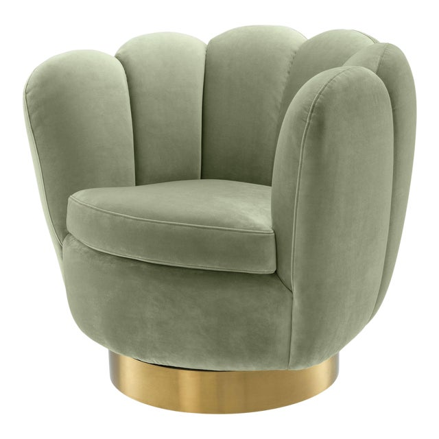 Eichholtz Mirage Green Scalloped Swivel Chair For Sale