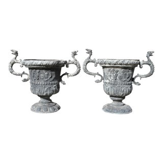 Georgian Lead Two Handled Urns - a Pair For Sale
