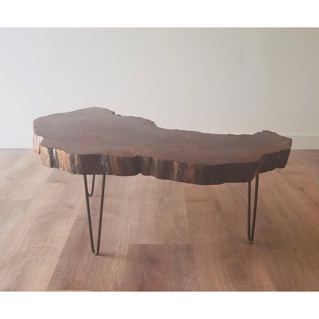 Mid-Century Modern 1960s Mid-Century Modern Live Edge Half Moon Side Table For Sale - Image 3 of 10