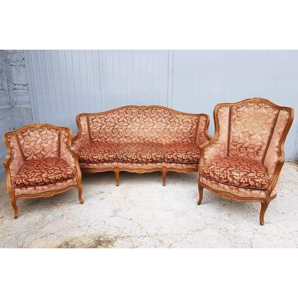 Pink Three Piece French Antique Louis XV Style Carved Parlor Suite Sofa Canape Loveseat For Sale - Image 13 of 13