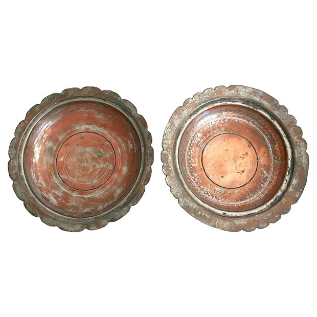 Egyptian Copper Bowls - a Pair - Image 1 of 5