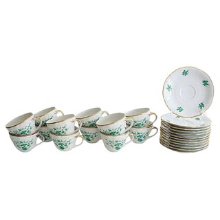 1950s Bavarian Porcelain Cups & Saucers, Svc. For 12 For Sale