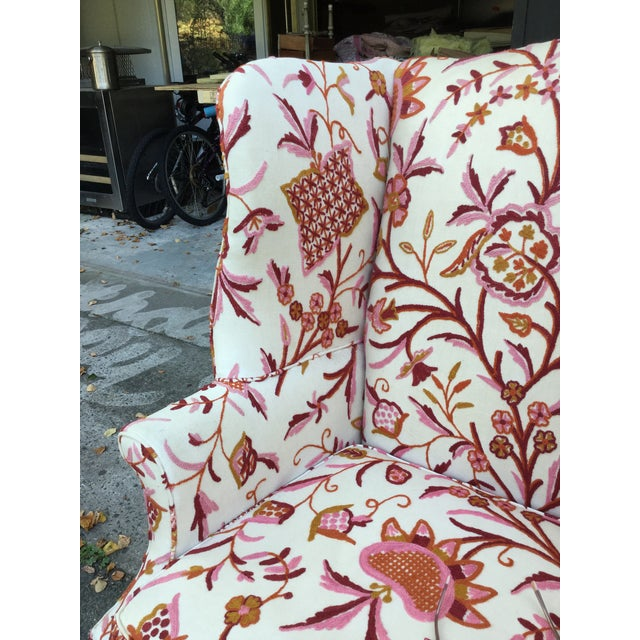 Wood Vintage English Armchair W/Crewel For Sale - Image 7 of 10