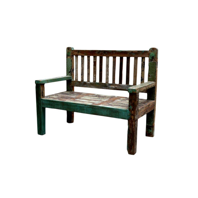 Reclaimed Teak Petite Painted Bench For Sale