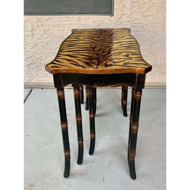 Black Safari Style Faux Bamboo Resin Nesting Tables - Set of 3 For Sale - Image 8 of 12