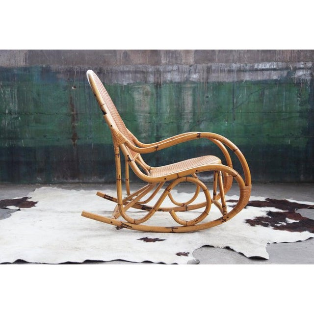 Mid-Century Hollywod Regency Boho Style Chic Rocking Chair For Sale In Madison - Image 6 of 11