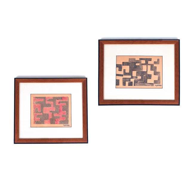 Red 1950s Angelo Testa Signed Geometric Abstract Red & Yellow Prints - a Pair For Sale - Image 8 of 8