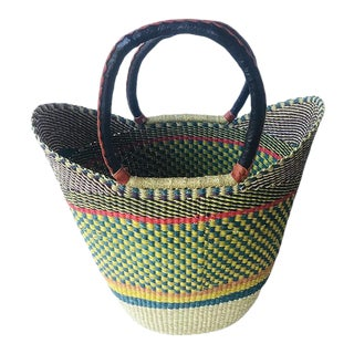 Bolga Ghana Green Checkered Woven Basket For Sale