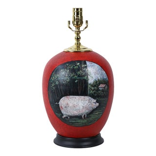 19th Century Hand-Painted Rural Farmhouse Landscape Table Lamp For Sale