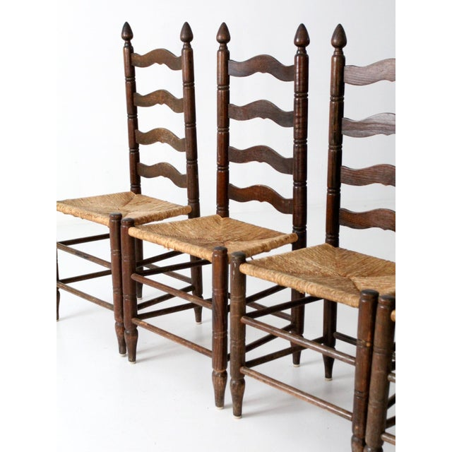 Antique Ladder Back Chairs with Rush Seats - Set of 4 - Image 5 of 10 - Antique Ladder Back Chairs With Rush Seats - Set Of 4 Chairish
