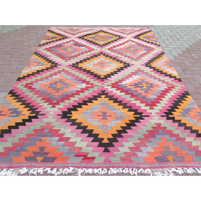 Contemporary Vintage Turkish Kilim Rug - 6′10″ × 9′10″ For Sale - Image 3 of 8