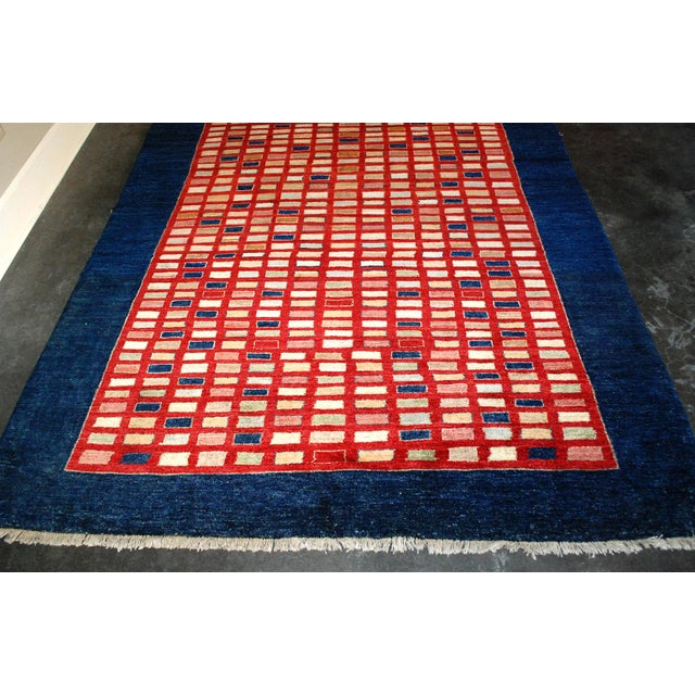 2000s Chobi Hand-Knotted Wool Geometric Navy Rug 6x9 For Sale - Image 5 of 7
