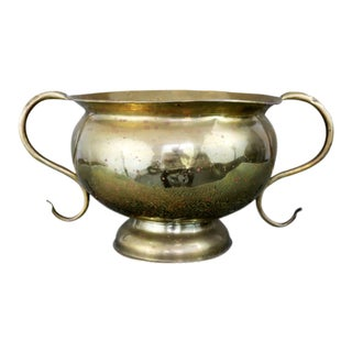 Large Hand Forged Brass Urn or Planter With Handles For Sale