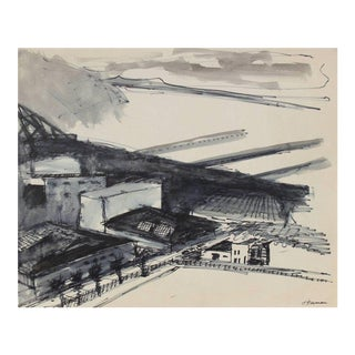 San Francisco Industrial Pier Drawing in Ink, Circa 1970s For Sale