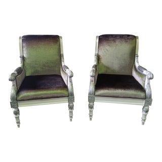 Modern White Finish & Silver Detail Custom Century Armchair- A Pair For Sale