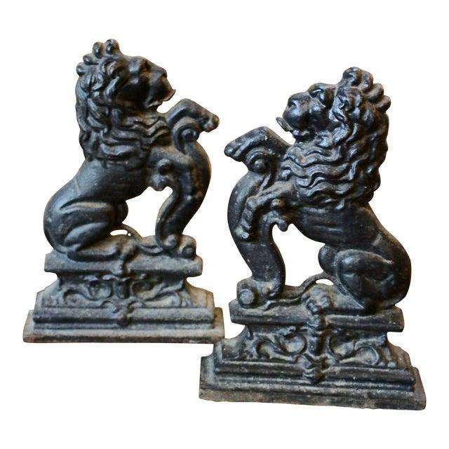Antique English Cast Iron Lion Doorstops - a Pair For Sale