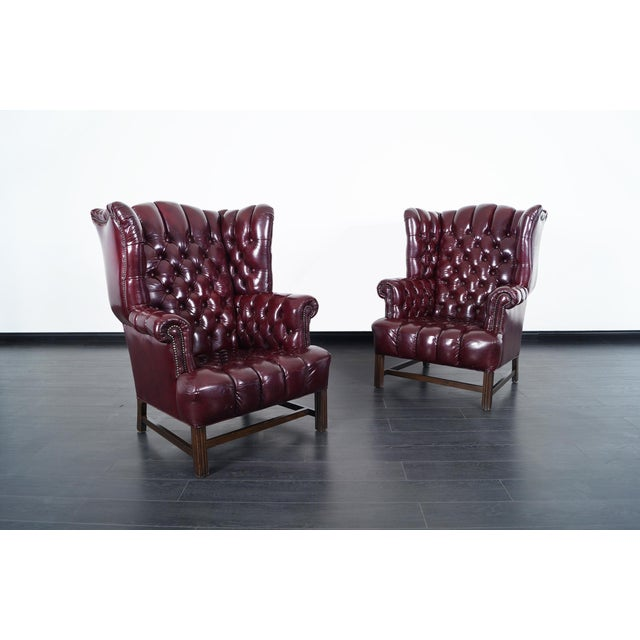 Animal Skin Vintage Leather Tufted Wingback Chairs For Sale - Image 7 of 9