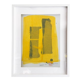 Largo 30 The Yellow Abstract Painting in White Shadow Box Frame For Sale