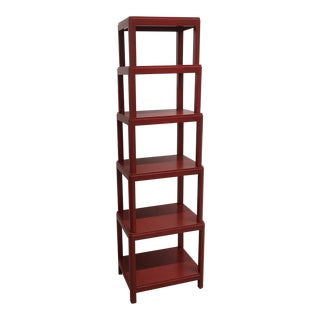 Modern Ming Style Mitchell Gold + Bob Williams Red Etagere For Sale
