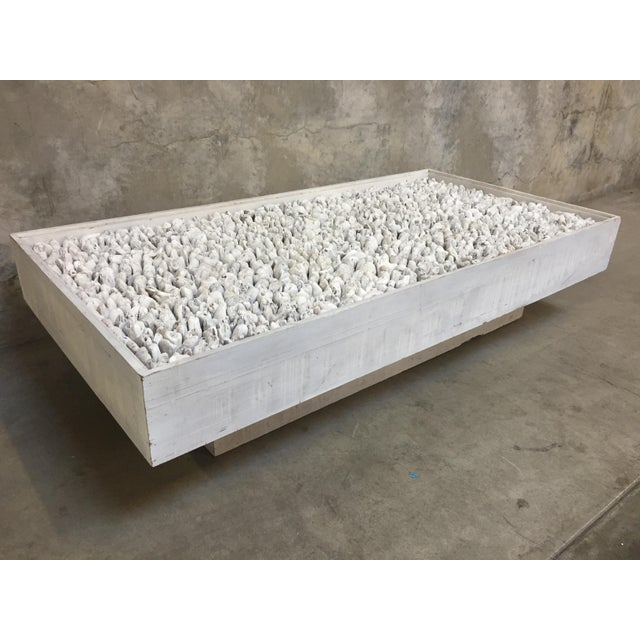 Rustic Distressed White Driftwood Coffee Table For Sale - Image 3 of 3