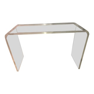 Vintage Mid Century Modern Lucite Waterfall Console Table Desk For Sale