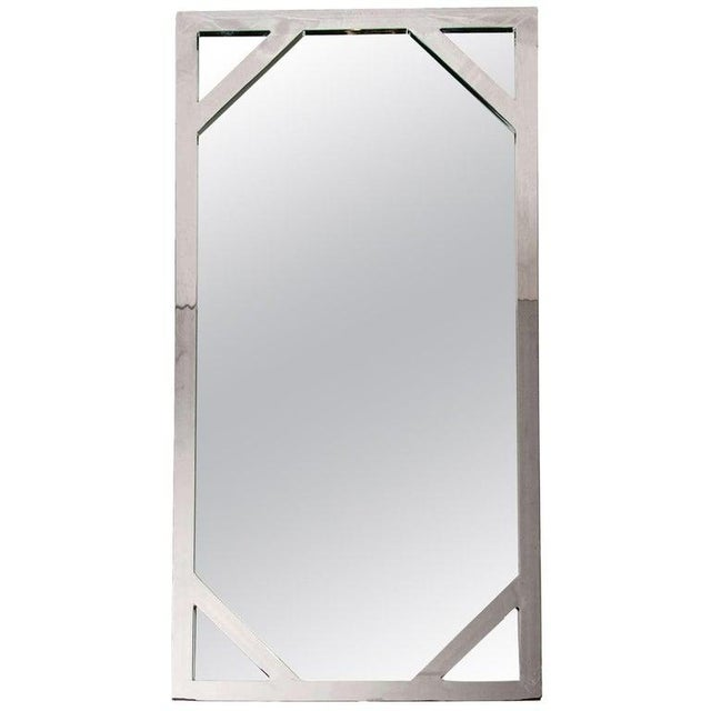 Tall Mid-Century Modern mirror with solid weight frame. Made of hand forged steel with polished chrome finish. Has...